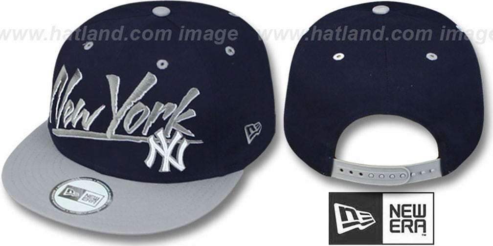 Yankees '2T MLB RETRO-WORD SNAPBACK' Navy-Grey Adjustable Hat by New Era
