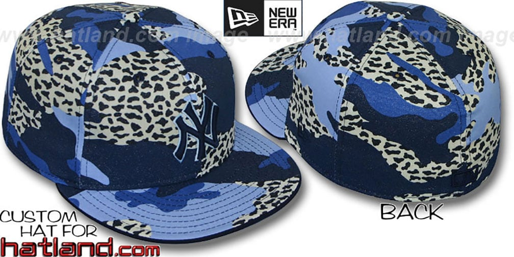 Yankees 'BLUE LEOPARD CAMO' Fitted Hat by New Era