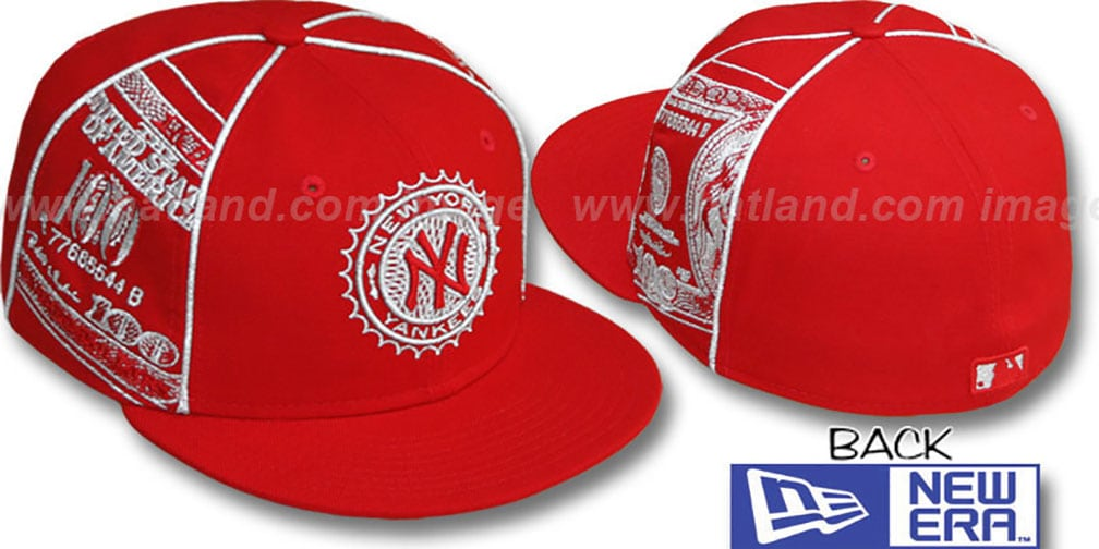 Yankees 'C-NOTE' Red-Silver Fitted Hat by New Era