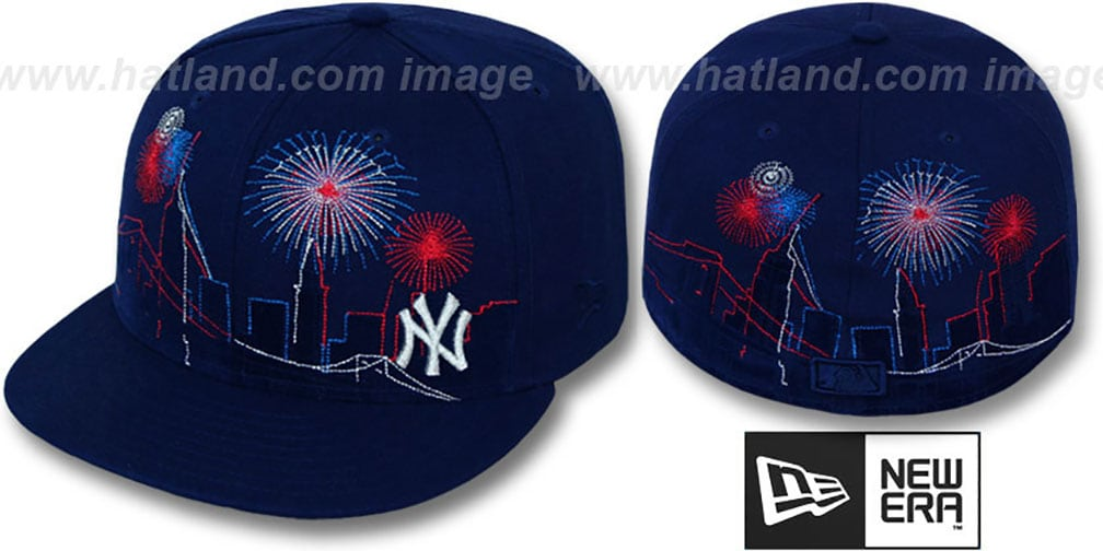 Yankees 'CITY-SKYLINE FIREWORKS' Navy Fitted Hat by New Era