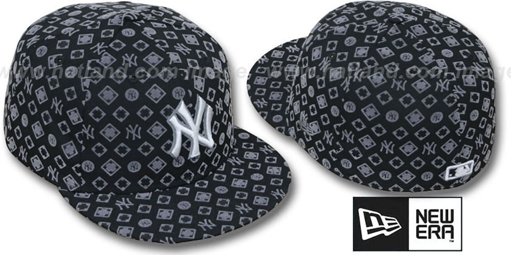 Yankees 'D-LUX ALL-OVER' Black-Grey Fitted Hat by New Era