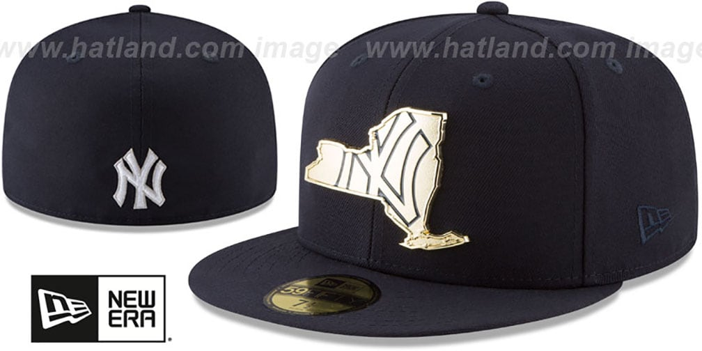 Yankees 'GOLD STATED METAL-BADGE' Navy Fitted Hat by New Era