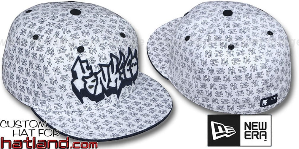 Yankees 'GRAFFITI ALL-OVER FLOCKING' White-Navy Fitted Hat by New Era
