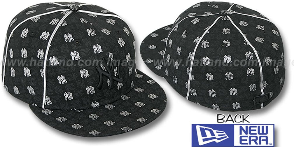Yankees 'KWAN ALL-OVER FLOCKING' Black-Silver Fitted Hat by New Era