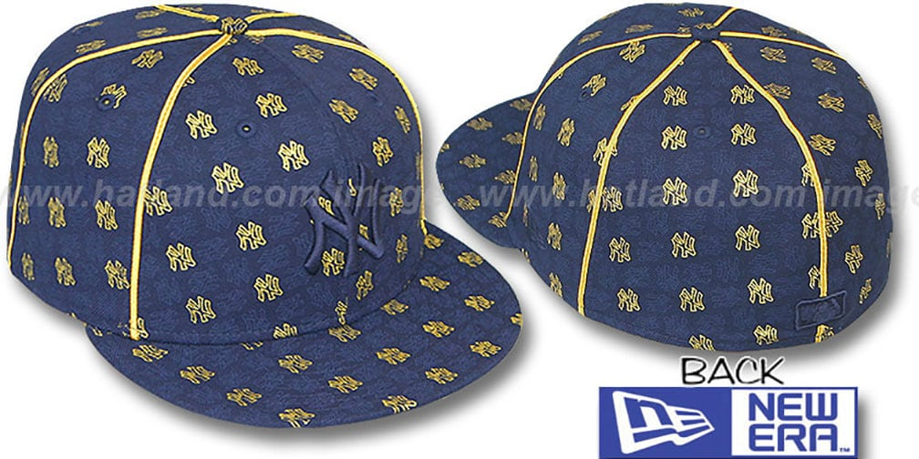 Yankees 'KWAN ALL-OVER FLOCKING' Navy-Gold Fitted Hat by New Era