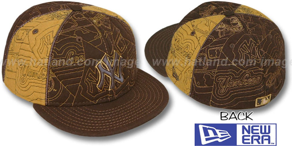 Yankees 'MELTON PUFFY PINWHEEL' Brown-Wheat Fitted Hat by New Era