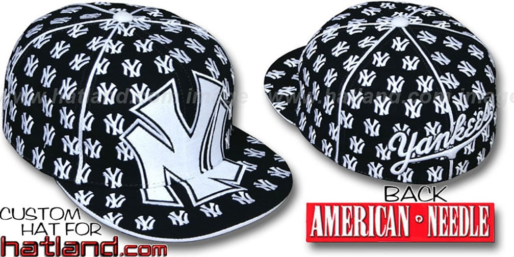 Yankees 'MONSTER DICE ALL-OVER' Black-White Fitted Hat by American Needle