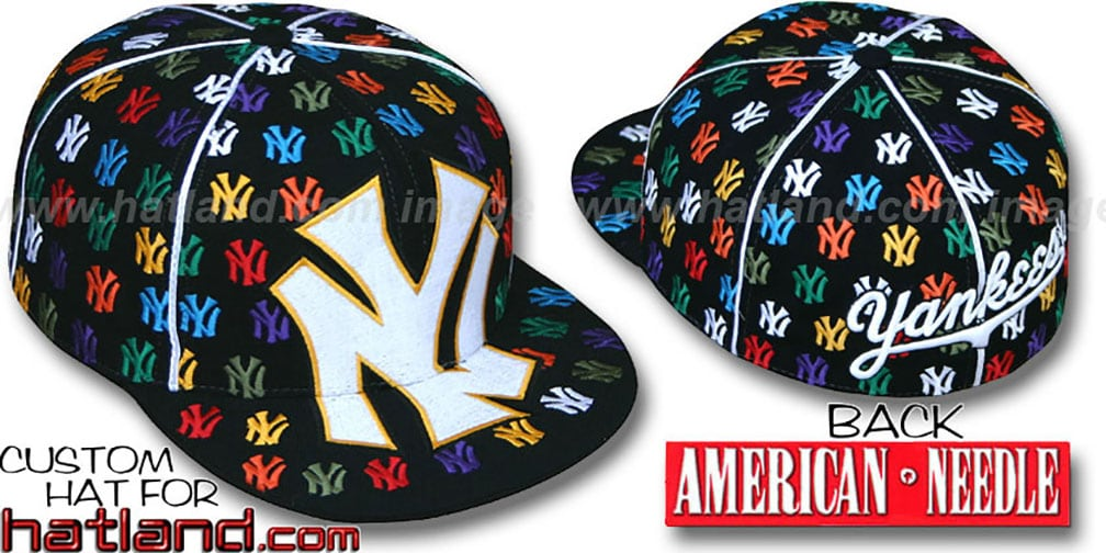 Yankees 'MONSTER MULTI-DICE ALL-OVER' Black Fitted Hat by American Needle