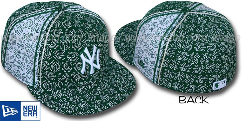 Yankees NY-'PJs FLOCKING PINWHEEL' Green-White Fitted Hat by New Era