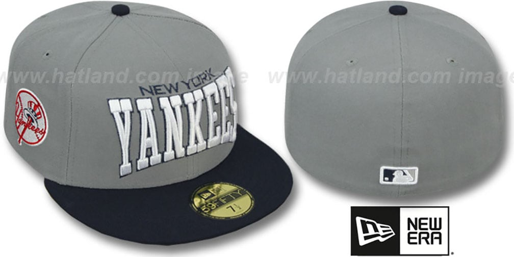 Yankees 'PRO-ARCH' Grey-Navy Fitted Hat by New Era