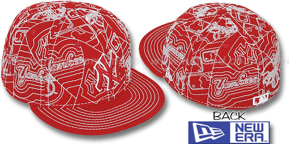 Yankees 'PUFFY REMIX' Red-White Fitted Hat by New Era