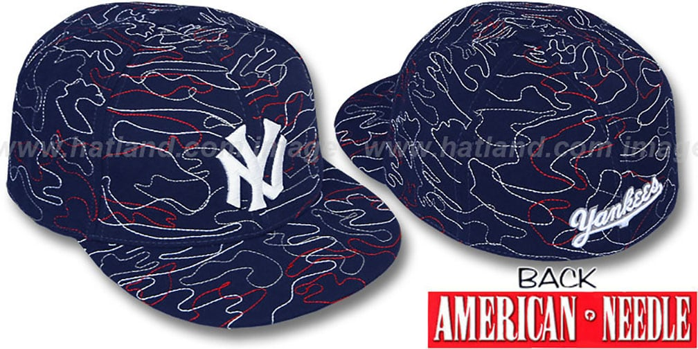 Yankees 'SILLY STRING ALL-OVER' Navy Fitted Hat by American Needle