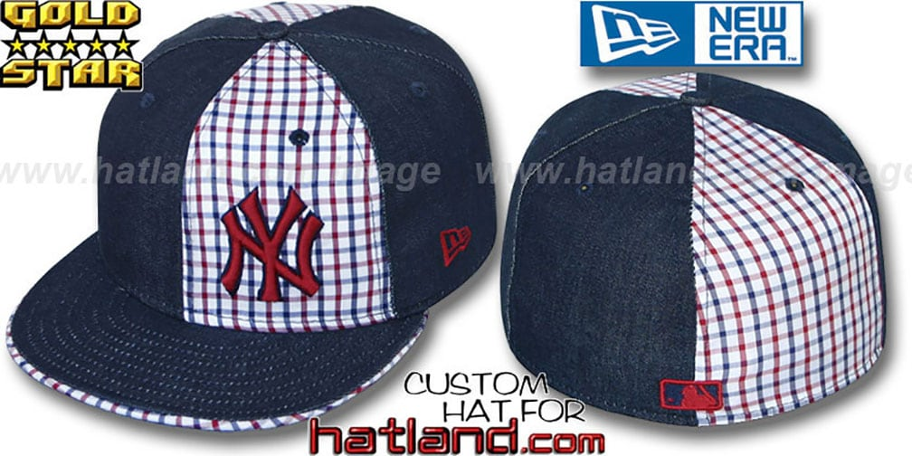 Yankees 'SOUTHPAW SLUGGA' Plaid-Navy Denim Fitted Hat by New Era