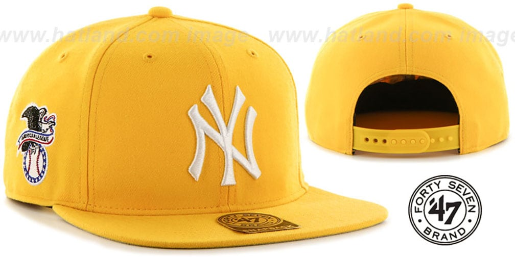 Yankees 'SURE-SHOT SNAPBACK' Gold Hat by Twins 47 Brand