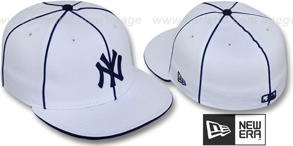 Yankees 'TEAM PIPING' White-Navy Fitted Hat by New Era