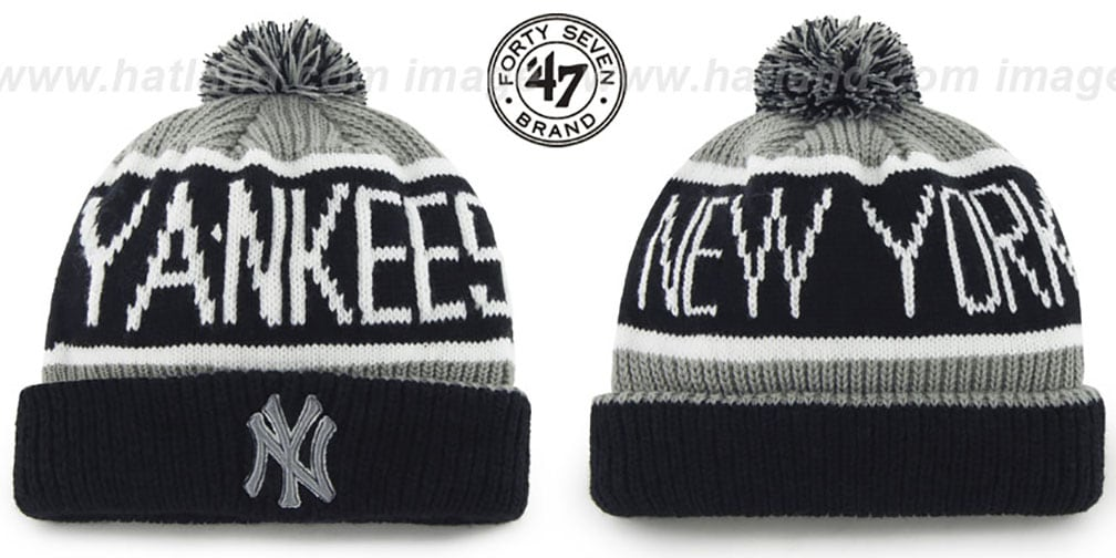 Yankees 'THE-CALGARY' Black-Grey Knit Beanie Hat by Twins 47 Brand