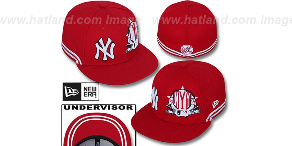 Yankees 'TWO-BIT' Red-White Fitted Hat by New Era