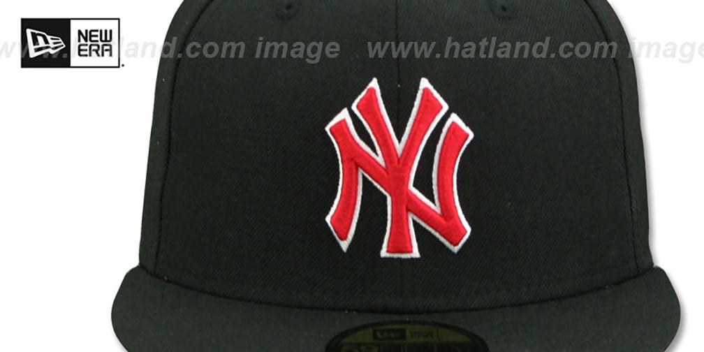 Yankees 'TEAM-BASIC' Black-Red Fitted Hat by New Era