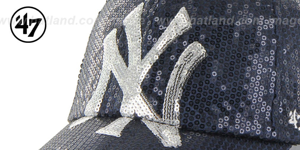 Yankees 'WOMENS DAZZLE STRAPBACK' Navy Hat by Twins 47 Brand