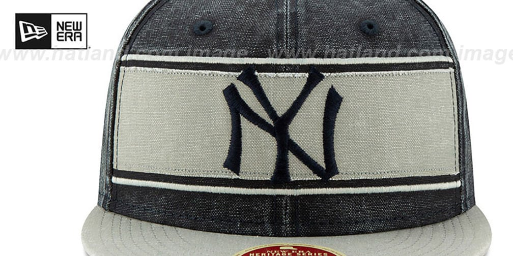 Yankees 'COOPERSTOWN HERITAGE-BAND' Navy-Grey Fitted Hat by New Era