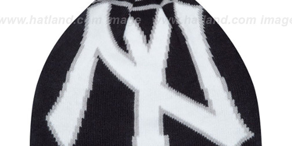 Yankees 'LOGO WHIZ' Navy-Grey Knit Beanie Hat by New Era