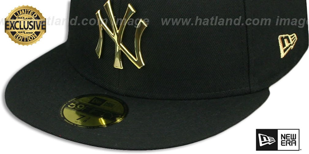 Yankees 'GOLD METAL-BADGE' Black Fitted Hat by New Era