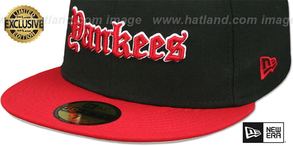 Yankees 'GOTHIC TEAM-BASIC' Black-Red Fitted Hat by New Era