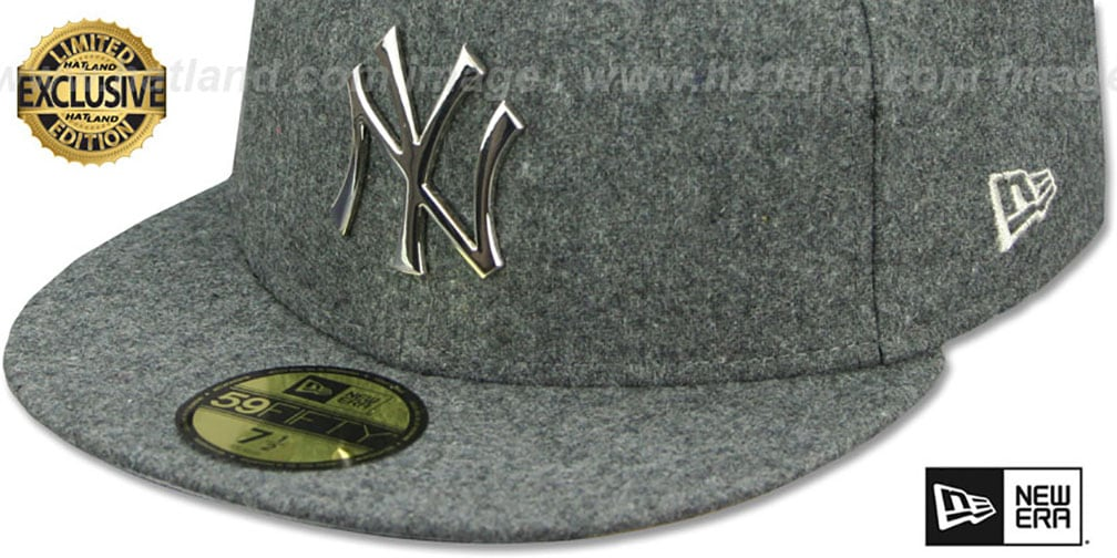 Yankees 'SILVER METAL-BADGE' Melton Grey Fitted Hat by New Era