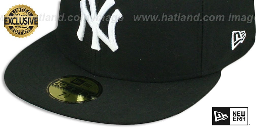 Yankees 'TEAM-BASIC' Black-White Fitted Hat by New Era