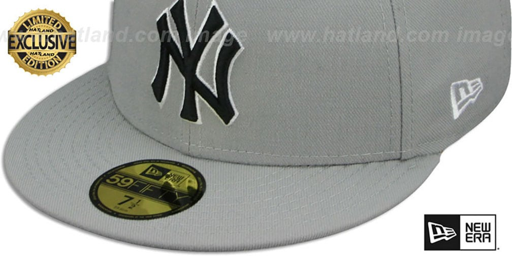 Yankees 'TEAM-BASIC' Grey-Black-White Fitted Hat by New Era