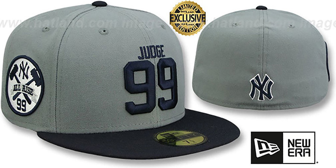 6e2f5f9d YankeesHats.com - New York Yankees Hats - Yankees 'JUDGE ALL RISE SIDE'  Grey-Navy Fitted Hat by New Era