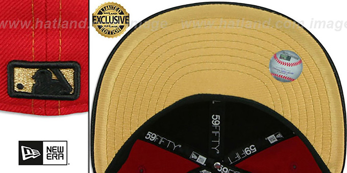 YankeesHats.com - New York Yankees Hats - Yankees  GOLD METAL-BADGE  Red- Black Fitted Hat by New Era 550588df22d