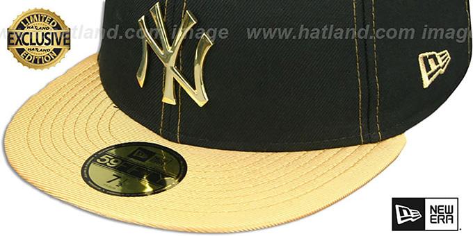 7e4efb6c YankeesHats.com - New York Yankees Hats - Yankees 'GOLD METAL-BADGE' Black-Gold  Fitted Hat by New Era
