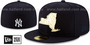Yankees 'ALL GOLD STATED METAL-BADGE' Navy Fitted Hat by New Era