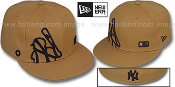 Yankees 'BIGGY FLAW MLB INSIDER' Wheat Fitted Hat by New Era