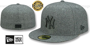 Yankees 'BLACK METAL-BADGE' Melton Grey Fitted Hat by New Era