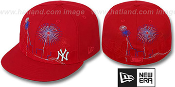 Yankees 'CITY-SKYLINE FIREWORKS' Red Fitted Hat by New Era