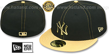 Yankees 'GOLD METAL-BADGE' Black-Gold Fitted Hat by New Era