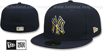 Yankees 'GOLD METALLIC STOPPER' Navy Fitted Hat by New Era