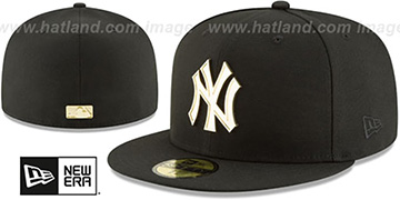 Yankees 'GOLDEN-BADGE' Black Fitted Hat by New Era