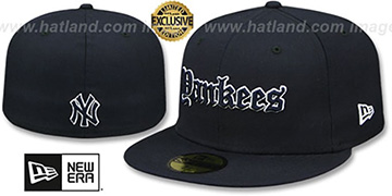 Yankees 'GOTHIC TEAM-BASIC' Navy Fitted Hat by New Era
