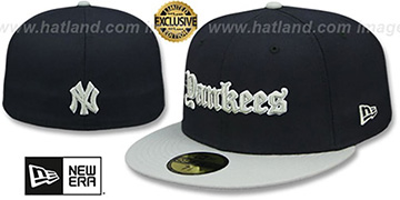Yankees 'GOTHIC TEAM-BASIC' Navy-Grey Fitted Hat by New Era