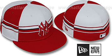 Yankees 'HORIZONTAL WRAP' Red-White Fitted Hat by New Era