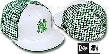 Yankees 'HOUNDSTOOTH' White-Green Fitted Hat by New Era