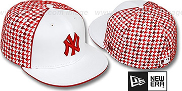 Yankees 'HOUNDSTOOTH' White-Red Fitted Hat by New Era