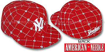 Yankees 'KINGSTON ALL-OVER' Red-White Fitted Hat by American Needle