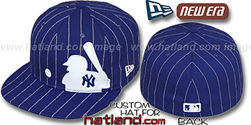 Yankees 'MLB SILHOUETTE PINSTRIPE' Royal-White Fitted Hat by New Era