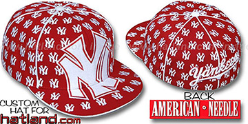 Yankees 'MONSTER DICE ALL-OVER' Red-White Fitted Hat by American Needle