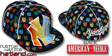 Yankees 'MONSTER RAINBOW DICE ALL-OVER' Black Fitted Hat by American Needle