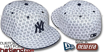 Yankees NY 'ALL-OVER FLOCKING' White-Navy Fitted Hat by New Era